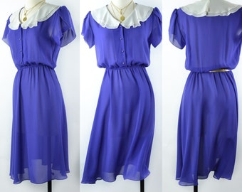 1980s Vibrant Semi Sheer Purple Dress