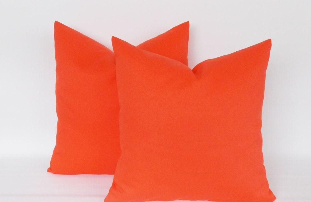 Solid Orange Decorative Pillows : SET 2/ Solid Orange Throw pillow covers Decorative pillow