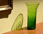 Beautiful Mid-century Green Carafe, Pitcher for Water or Cocktails Light to Dark Green