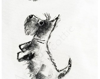 Scottie Dog & Butterfly Art Print A5