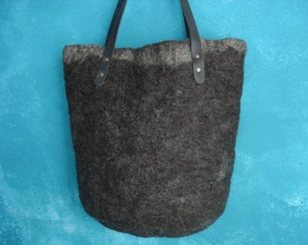Large wet felted tote bag in brown with beige edge pure wool leather handles