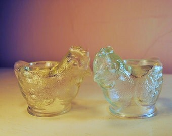 set FRENCH EGG CUPs clear glass...Bird of Spring...so lovely my favorite perfect for breakfast, a nice cuppa tea, some toast 'soldiers'