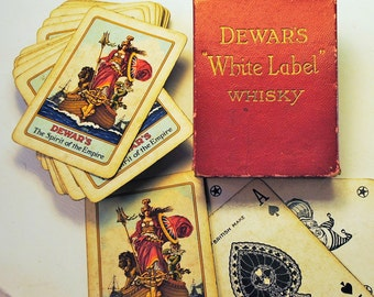 Sale cards DEWARS whiskey WHITE LABEL The Spirit of the Empire playing card deck in original 1910 red box advertising bar whiskey antique