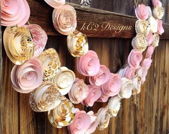 Paper Flower Garland blush garland gold Wedding Garland. Pink flowers paper flower garland rose quartz gold garland nursery decor baby girl