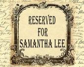 Custom Listing for Samantha Lee