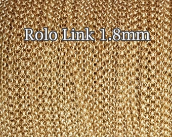 Gold Filled chain Rolo, wholesale 1.8mm - choose length 1 3 5 10 20 30 50Feet - gold chain Rolo Belcher - 25%Discount price bulk quantity