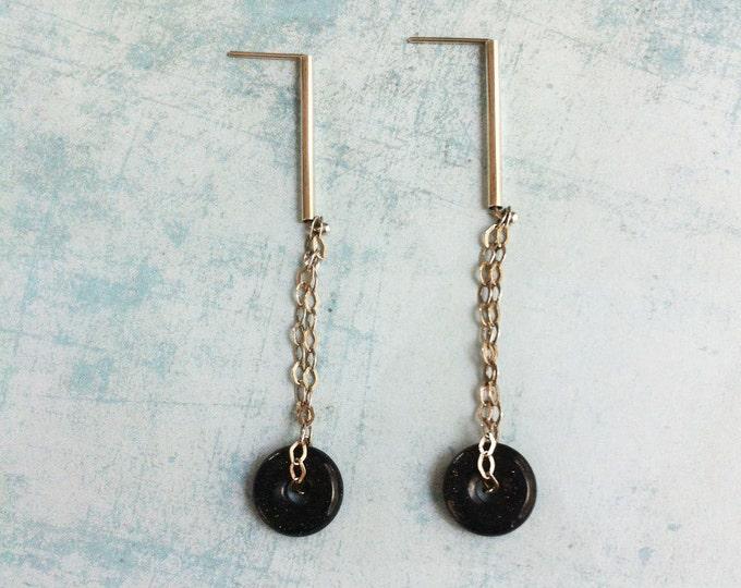 Stud silver earrings - blue goldstone donut shape - pending chain - dangle and drop earrings