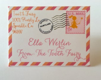 20 Tiny Tooth Fairy letters and Envelopes from Tooth Fairy in Pinks and Orange