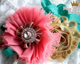 Golden Wishes - Headband, Baby Headband, Photography Prop, Couture Headband, Hair Clip, Summer Headband, Coral Teal and Gold, Shabby
