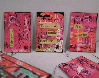 Original Mixed Media Matchbox Prompt Cards Tiny Inspirations by Ceville Designs