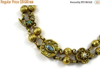 ON SALE Goldette Victorian Revival Slider Bracelet - Moons & Stars