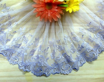 """DN725-7 """" Purple Embroidered  Tulle Mesh Lace Trim by Yard"""