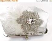 SALE 30% OFF Ivory Bridal Clutch, Crystal Bridal Clutch, Ivory Crystal Wedding Purse, Ivory Satin Evening Clutch