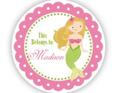 Personalized Name Tag Stickers - Pink and Lime Green, Ocean Girl Mermaid Name Tag Stickers - This Belongs To - Back to School Name Labels