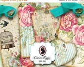 75% OFF SALE SHABBY Old Roses Digital Collage Sheet Hang Tags and Tiny Hearts Scrapbooking Instant download