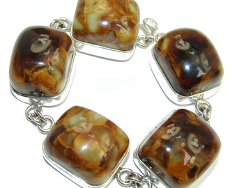Amber Sterling Silver Bracelet - weight 50.50g - dim 3 8 inch - code 28-lip-16-61
