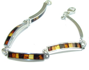 Amber Sterling Silver Bracelet - weight 15.80g - dim 1 4 inch - code 10-lis-15-8