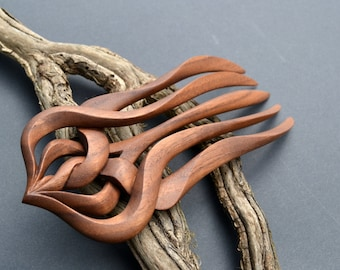 Huge 5-prong, Highly twisted Hairfork, handcaved from Nuttree-Wood