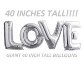 Balloon SALE 40 inch LOVE letters balloons SILVER for Bridal Showers Wedding Decorations Foil Mylar Metallic Balloons