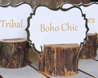 12 Boho Chic Rustic Place Card Holders, Bohemian Boho Party Chic Tribal Gypsy Wood Tree Food Card Holders
