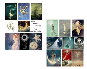 Sun Moon & Stars Digital Collage Set