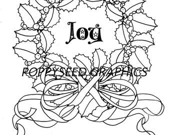 Wreath Of Joy Digital Stamp by Leanne Seed