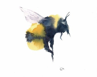Watercolor Bumblebee - Original Watercolor Painting 7 4/5 x 7 4/5 inches