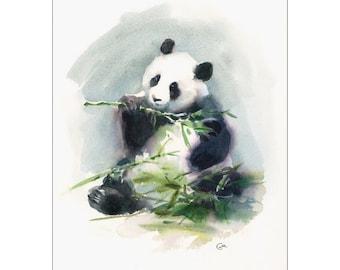 Panda - Original Watercolor Painting 9x12 inches Animals