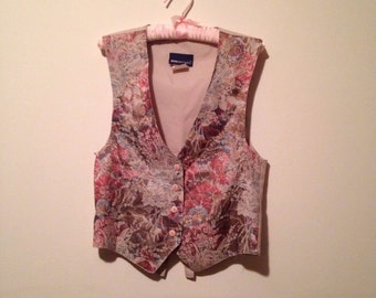 80s floral tapestry vest, pastel waistcoat, v-neck, silk vest, small - vintage -