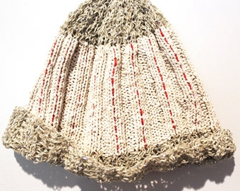 Handmade White beige Red Orange Rib Striped Hand Knit Hat