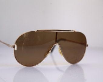 Vintage Polaroid Gold Aviator Frame, Brown Polarizing Lenses POLAROID LOOKERS 4551. Collectible.