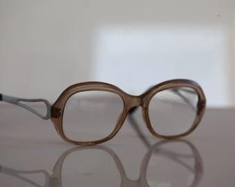 Vintage  Crystal Brown Frame,  Chrome Temples, RX Prescription Lenses.