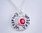 Mothers necklace Grandmothers necklace small disk personalized necklace