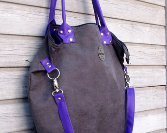 Eco-leather Grey Purple Shopper/ 2 Color Big Shoulder Bag/ Grey Big Handbag/ Shopper bag/ Faux-leather Gray Big Bag/ Gray Fiolet Shopper Bag