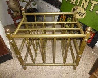 Brass Magazine and Newspaper Rack - Rare Rugged 1920s Form Holds laptops and tablets as well as old school media