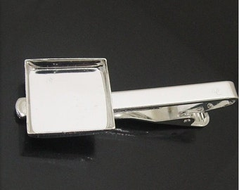 Brass Tie Clip with 25mm Square Bezel Setting for Cabochon Jewelry Making Wholesale Jewelry Findings ID 23540