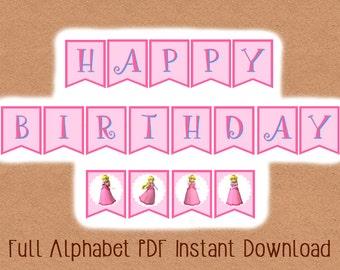 Printable INSTANT DOWNLOAD Video Game Princess Banner, Video Game Party Banner, Video Game Party, Gamer Birthday Party, Video Game Birthday