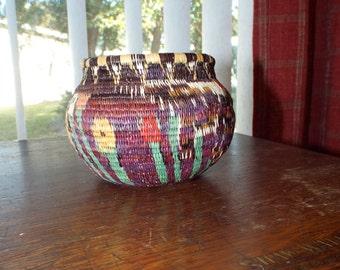 Southwestern Basket Rustic Handwoven Intricate Weaving Pattern