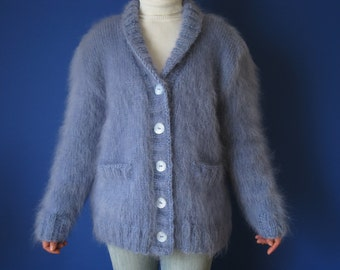 Made to Order ! New Hand Knitted Mohair Thick Sweater Cardigan size L,XL Blue