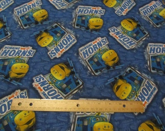 Blue/Yellow Chuggington Train Cotton Fabric by the Yard
