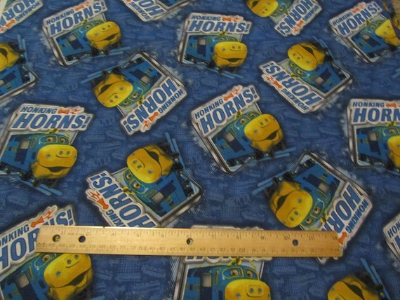 Blue yellow chuggington train cotton fabric by the yard for Train fabric by the yard