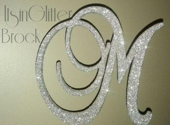 Monogram Wedding Cake Topper 6 Inch Silver Glitter BLING