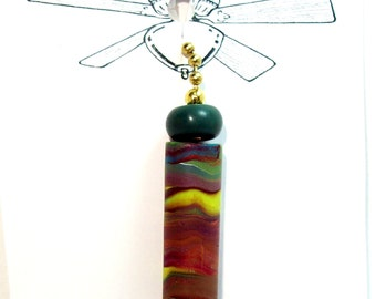 Fan or Light Pull for Ceiling Fan or Chain Pull for Lamp - Handmade Polymer Clay Tube Beads