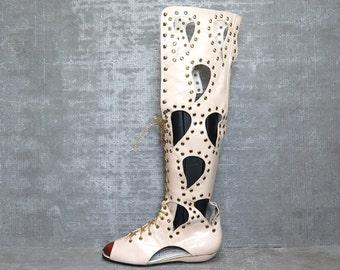 Vtg 60s 70s Leather Studded Boho Cutout Studded Mod Gladiator Boots Sandals 7 8