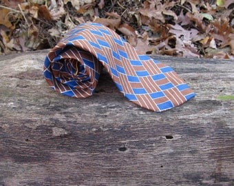 1950s mens tie, tan and blue tie, vintage swing tie, Bonds 5th Ave