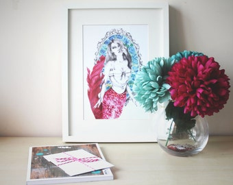 Summer SALE! Nautical, Pin up Mermaid Illustration, Watercolour and Pencil, Illustrated Print