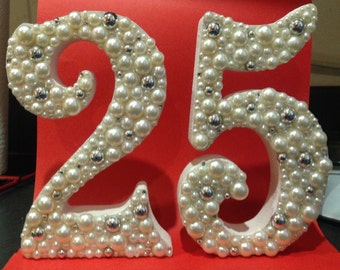 Decorated freestanding wooden number ideal wedding anniversary gift, sweet 16 or 18th, 21st birthday keepsake