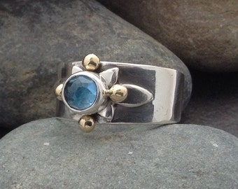 Blue topaz ring, rose cut gemstone, sterling silver and brass balls, artisian metalwork, mixed metal, size 8 and 3/4 Elfin Works design