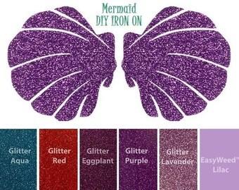 MERMAID SHIRT APPLIQUES, Custom Sizes and Colors, Iron On Transfer, Seashell Bra Top, Sea Shells, Glitter Vinyl Appliques, Little Princess