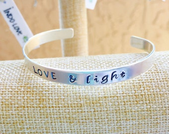 Love and Light Sterling Silver Cuff Bracelet - Hand Stamped - Yoga Jewelry - Inspirational Jewelry - Gifts with Meaning